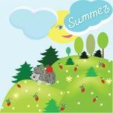 Paisaje de la fantasía del verano con el erizo ilustración del vector