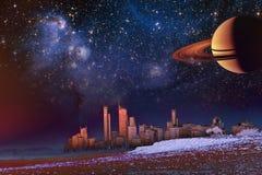 Paisaje de la fantasía - el horizonte moderno de la ciudad sobre elementos de la duna y de la niebla de esta imagen suministró po libre illustration