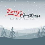 Paisaje de la Feliz Navidad ilustración del vector