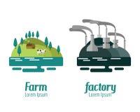Paisaje de la granja y de la fábrica Foto de archivo libre de regalías
