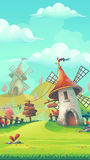 Paisaje de la historieta con un molino de viento Imagen de archivo libre de regalías