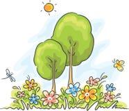 Paisaje de la historieta del verano stock de ilustración