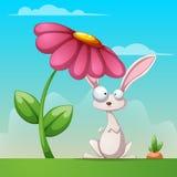 Paisaje de la historieta Ejemplo divertido, lindo del conejo libre illustration