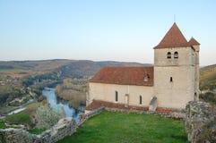 Paisaje de la iglesia y del río Fotografía de archivo