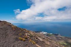 Paisaje de la isla de Palma del La desde arriba del volcán de San Antonio Fotos de archivo