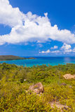 Paisaje de la isla Praslin - Seychelles Imagenes de archivo
