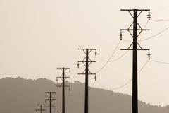 Paisaje de la línea eléctrica Imagen de archivo libre de regalías