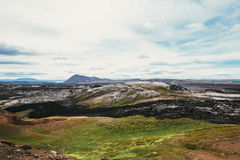 Paisaje de la lava y de la hierba Fotografía de archivo libre de regalías