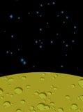 Paisaje de la luna en espacio Superficie amarilla del planeta Cosmos negro Imágenes de archivo libres de regalías