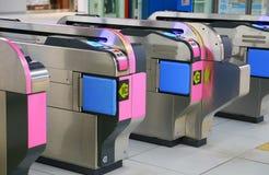 Paisaje de la máquina automática de la inspección del boleto del ferrocarril japonés imagen de archivo
