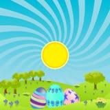 Paisaje de la mañana con los huevos de Pascua Fotografía de archivo
