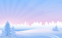 Paisaje de la mañana del invierno. ilustración del vector