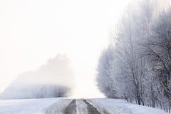 Paisaje de la mañana del invierno Camino vacío, árboles en escarcha en niebla Fotos de archivo