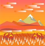 Paisaje de la mañana del otoño de la montaña en estilo plano Un hermoso y Fotografía de archivo libre de regalías