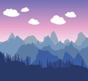 Paisaje de la mañana o de la tarde de la montaña en un estilo simple plano Si Fotos de archivo