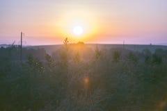 Paisaje de la mañana Salida del sol detrás del pueblo en el campo Fotos de archivo