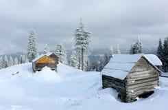 Paisaje de la montaña cárpata en invierno Fotografía de archivo libre de regalías