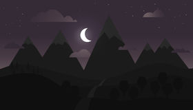 Paisaje de la montaña con el cielo púrpura Foto de archivo libre de regalías