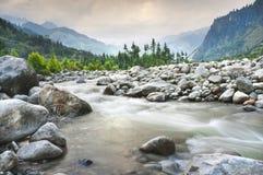 Paisaje de la montaña con el río y el bosque Imagenes de archivo