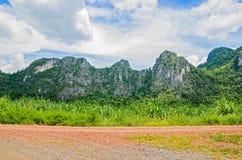 Paisaje de la montaña con el rastro y el prado verde Fotos de archivo libres de regalías