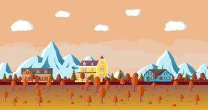 Paisaje de la montaña con la casa stock de ilustración