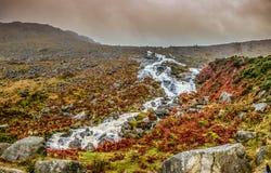 Paisaje de la montaña con la cascada Foto de archivo