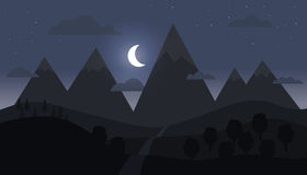 Paisaje de la montaña con la luna creciente Fotografía de archivo libre de regalías