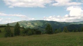 Paisaje de la montaña con los bosques y las colinas almacen de metraje de vídeo
