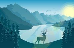 Paisaje de la montaña con los ciervos en un bosque y un lago en la salida del sol Foto de archivo libre de regalías