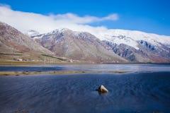 Paisaje de la montaña con nieve Fotografía de archivo libre de regalías