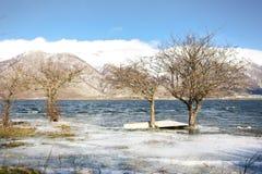 Paisaje de la montaña con nieve Fotos de archivo