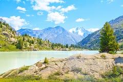 Paisaje de la montaña con un lago glacial y los pinos Fotos de archivo