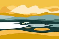 Paisaje de la montaña con un lago Viaje, actividades al aire libre, deportes al aire libre, vacaciones Estilo plano libre illustration