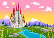Paisaje de la montaña de la fantasía con el castillo medieval Fotos de archivo