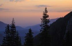 Paisaje de la montaña de la mañana del verano fotografía de archivo