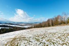Paisaje de la montaña del invierno con el campo, la arboleda y el pueblo adentro lejos fotos de archivo libres de regalías