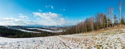 Paisaje de la montaña del invierno con el campo, la arboleda y el pueblo adentro lejos imagenes de archivo