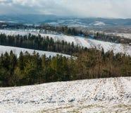 Paisaje de la montaña del invierno con el campo, la arboleda y el pueblo adentro lejos fotografía de archivo