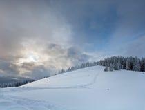 Paisaje de la montaña del invierno de la tarde Fotografía de archivo