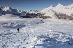 Paisaje de la montaña del invierno del panorama en montañas rocosas canadienses Imagen de archivo libre de regalías