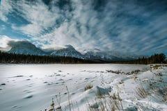 Paisaje de la montaña del invierno del panorama en montañas rocosas canadienses Fotos de archivo