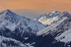 Paisaje de la montaña del invierno en Austria Imágenes de archivo libres de regalías