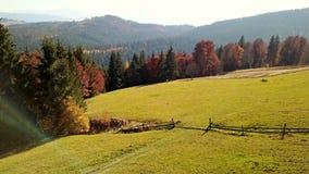 Paisaje de la montaña del otoño metrajes
