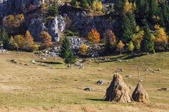 Paisaje de la montaña del otoño con el pajar imagen de archivo
