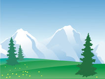 Paisaje de la montaña del vector Fotos de archivo libres de regalías