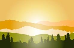 Paisaje de la montaña del vector, salida del sol Imagen de archivo