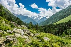 Paisaje de la montaña del verano con mayor gama del Cáucaso en el horizonte Imágenes de archivo libres de regalías