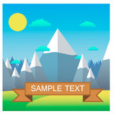 Paisaje de la montaña Ejemplo plano del vector del diseño Logro de la meta Imagen de archivo