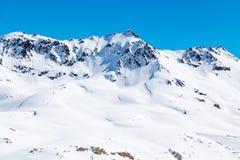 Paisaje de la montaña en Tignes Imágenes de archivo libres de regalías