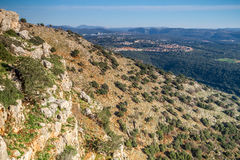 Paisaje de la montaña, Galilea superior en Israel Imagenes de archivo